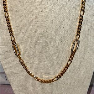 Givenchy 1980 Runway Gold Link Crystal Necklace